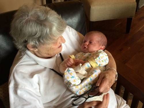 Old age is a time to remember that in baptism we are called to be connected and to let ourselves be loved. Ethel A. Vickery and her granddaughter share a loving moment. (Photo courtesy of Caroline Vickery)