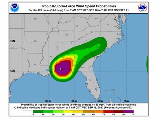 Map of hurricane path