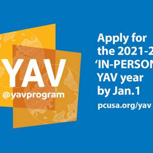 YAV logo that says: Apply for the 2021 to 2022 in-person YAV year by January 1