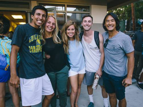 Cal Poly students in front of Front Porch