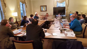 Members of the 'Pittsburgh consultation' work on a theological framework for new worshiping communities to more deeply connect them to Presbyterian roots. (Photo by Jin Kim.)