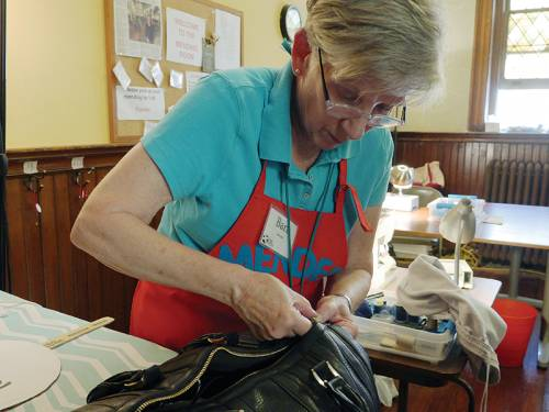 Barb Lappen, a retired teacher and counselor, volunteers with the Broad Street Ministry Menders of Philadelphia. The group repairs clothing for people who are homeless or hungry. (Photo courtesy of the Board of Pensions of the Presbyterian Church (U.S.A.))