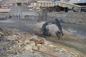 A mining operation in Oruro, Bolivia, dumps waste into the Huanuni River.