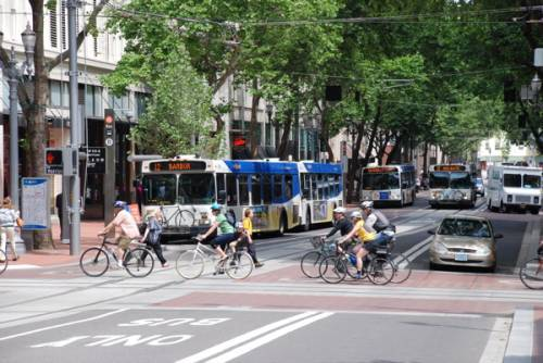 Buses on the southbound Portland Transit Mall (in Portland, Oregon), 5th Avenue, with cyclists crossing on Morrison Street. Photo was taken after MAX light rail tracks were added to the mall but before they were brought into use. Bicycles are also being carried on the fronts of the buses. Photo by Steve Morgan, via Wikimedia