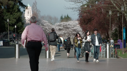 International students at the University of Washington in Seattle. Screen shot from video, Film 180, Mike Fitzer