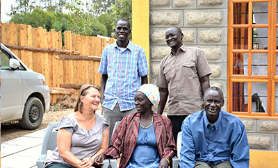 Mission co-worker Rachel Weller with four Mekane Yesus CHE interns in Kenya