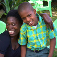 Paul Sinette Pierre with her son, Carlins, 10 (Photo by Cindy Corell)