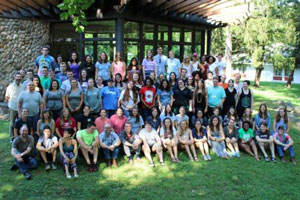 The 2016–2017 Young Adult Volunteers and support staff at Stony Point Conference Center in New York (Photo courtesy Bridgette Lewis)