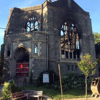 The charred shell of Good Shepherd Presbyterian Church in Philadelphia after a fire five weeks ago (Photo by Greg Klimovitz)