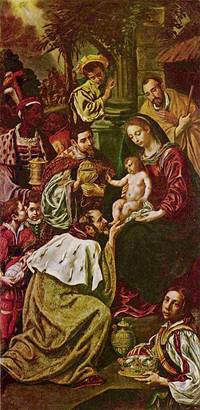 A painting of Mary holding Jesus while Joseph looks over her shoulder and the Magi kneel in front.