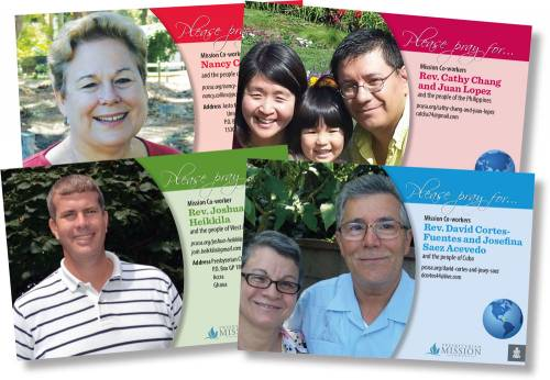 Collage of mission co-worker prayer cards