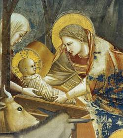 A painting Mary and Joseph and the baby Jesus in swaddling clothes.