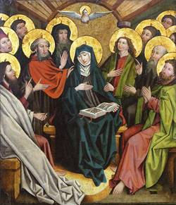 Painting of a dove with a halo flying over a group of colorfully dressed people with halos.