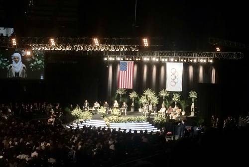 A view from inside the Muhammad Ali interfaith memorial service at the KFC Yum! Center in Louisville, Kentucky. (Photo by Kathy Francis)