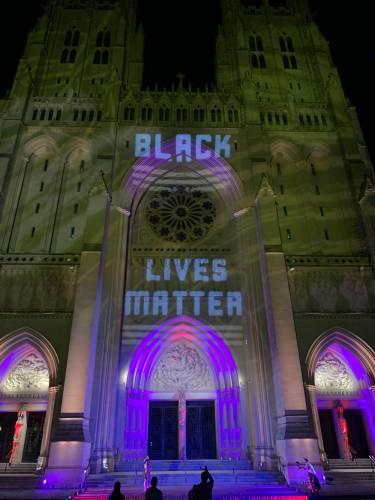 Black Lives Matter signage at National Cathedral