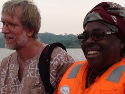 ECC Women's National General Secretary, Rev. Nzeba, enjoys the boat ride to Tsheya