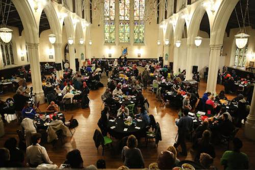Food is served at Broad Street Ministry (BSM) during their afternoon lunch for the homeless and those that are in financial distress. (Photo by Spencer Platt/Getty Images)