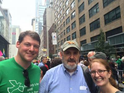 Bill Somplatsky-Jarman (center) joined Ryan Smith with the Presbyterian Ministry at the United Nations and Rebecca Barnes with the Presbyterian Hunger Program's Environmental Ministries for the People's Climate March in New York City in September 2014. Photo courtesy of MRTI.