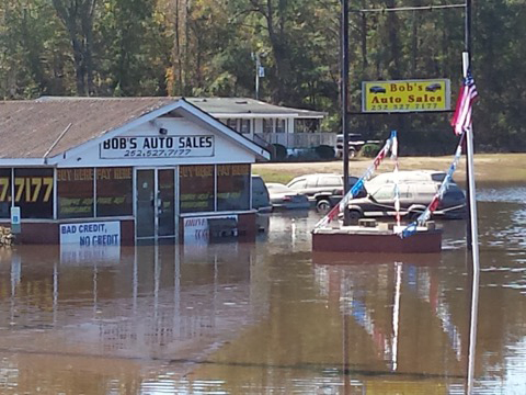 High water causes damages to home and businesses along Highway 70 in Kinston, NC. (Photo by Jan Spence)