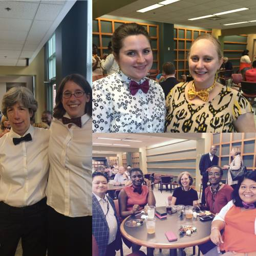 Staff don bow ties to welcome J. Herbert Nelson to the Presbyterian Center in Louisville. (Photo by Mari Graham)