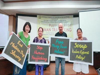 Attending the Public Forum on Human Trafficking with UCCP friends, Trelly Marigza, Arfel Saranillo and Marie Suarez