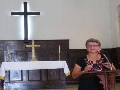 Josey leading devotional at SET Chapel