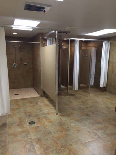 Shower stalls in the Mission Housing area of Canfield Presbyterian Church offer accessibility options. (Photo provided)