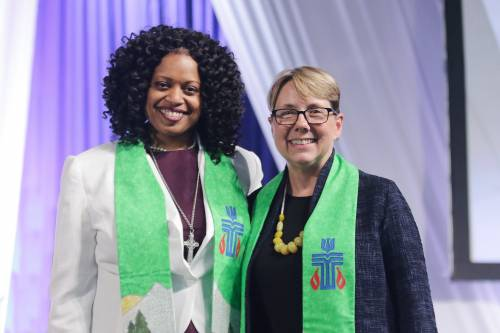 Co-moderators of the 222nd General Assembly of the Presbyterian Church (U.S.A.), T. Denise Anderson and Jan Edmiston. (Photo by Danny Bolin)