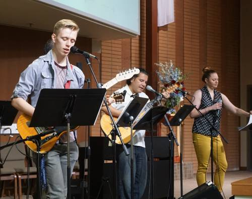 The praise band leads worship at Columbia Presbyterian Church. Photo by Emily Enders Odom.