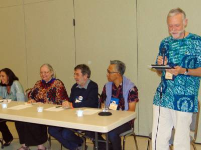 World Mission Cafe. L to R: Tracey King-Ortega, Janet Guyer, Burkhard Paetzold, Don Choi, and Doug Tilton. Photo by Kathy Melvin.