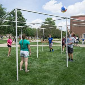 Overhead 'four square' is played Monday afternoon on Purdue University's Memorial Mall. (Photo by Gregg Brekke)