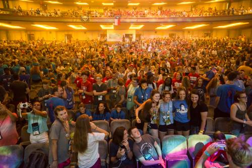Elliot Hall of Music on the campus of Purdue University fills with Presbyterian Youth Triennium worshipers Tuesday evening. (Photo by Gregg Brekke)