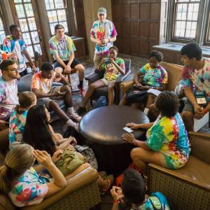 A small group gathers for discussion in Purdue's Memorial Union during the 2016 Presbyterian Youth Triennium. (Photo by Gregg Brekke)