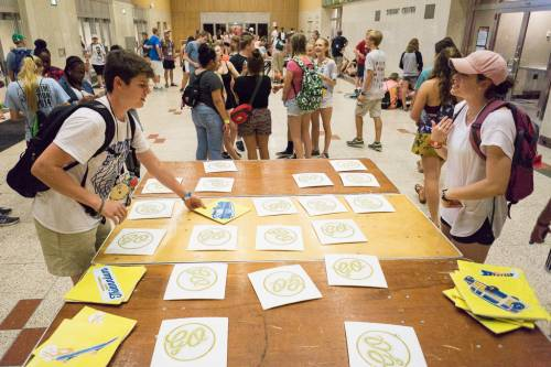 Lucas and Katherine, from Northeast Georgia Presbytery, play a matching game during Tuesday evening's recreation time at Presbyterian Youth Triennium. (Photo by Gregg Brekke)
