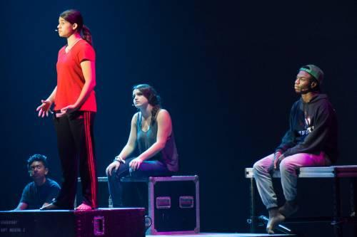 PYT Drama Team Francois Ibrahim, Brianna Coppolino, Olivia Magaraci and James CI Williams. (Photo by Gregg Brekke)