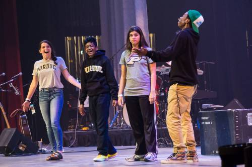 The Presbyterian Youth Triennium drama team ask 'Where do we go from here?' at Saturday's closing worship service. (Photo by Gregg Brekke)