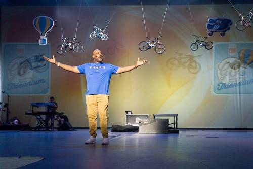 Perryn Rice preaches at the closing worship service of the Presbyterian Youth Triennium. (Photo by Gregg Brekke)
