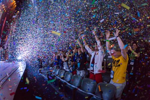 Confetti rains down on Presbyterian Youth Triennium participants at the end of Saturday's closing worship. (Photo by Gregg Brekke)