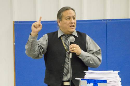 Standing Rock Sioux historian Dakota Good tells clergy about the sacred nature of the land through the story of Native groups along the Missouri River. (Photo by Gregg Brekke)