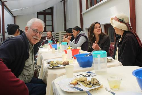 Hunger Action Advocate Don Shaw (left) has lunch with youth in La Paz, Bolivia. Photo by Valery Nodem