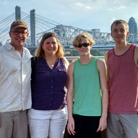 Dustin, Sherri, Christopher, and Clayton overlooking downtown Louisville...in our last whole-family photo before Clayton heads to college