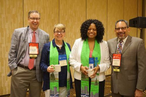 From left to right: Chip Hardwick, director of Theology, Formation, and Evangelism; Co-Moderator Jan Edmiston; Co-Moderator Denise Anderson; Tony De La Rosa, interim executive director, Presbyterian Mission Agency. Photo by Emily Enders Odom.