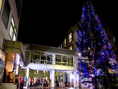 Hokusei Gakuen University's Christmas Tree Lighting Ceremony takes place at the beginning of Advent
