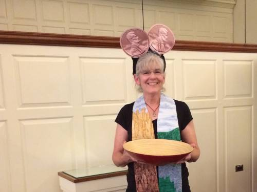 Hunger Action Advocate Denise Pillow dons 'ears' for the Two Cents-a-Meal/CentsAbility offering at presbytery meetings.  (Photo by Dottie Hanshew)