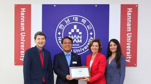 Left to right, the Rev. Samuel Cheon, chaplain, Hannam University and Dr. Duk-Hoon Lee, president, Hannam University; are presented with Hannam University's APCU Certificate of Membership by Dr. Barbara Mistick, APCU chair and president of Wilson College; and Dr. Elissa Heil, vice president, Academic Affairs, Wilson College. Photo courtesy of Hannam University