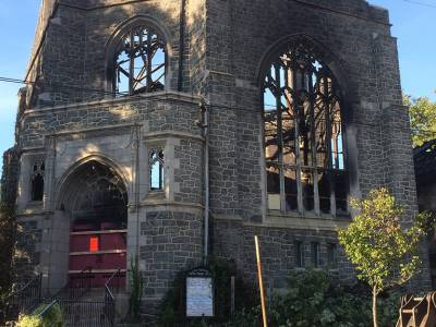 The charred shell of Good Shepherd Presbyterian Church in Philadelphia following an early Monday morning fire. (Photo by Greg Klimovitz)
