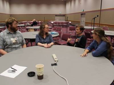 Left to Right: Timothy Wotring, Abbi Heimach-Snipes, Emily Brewer and Colleen Earp look to a future of more hands-on ministry in the Presbyterian Church (U.S.A.)  Photo by Rick Jones.