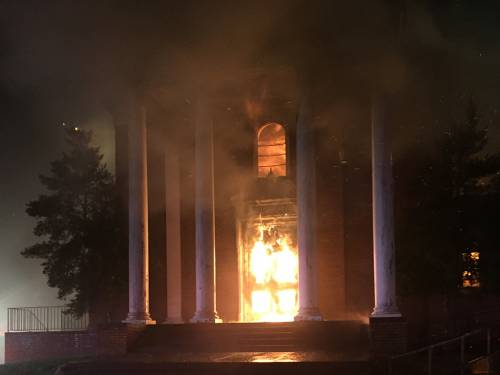 The second fire at Eastminster Presbyterian Church continued to burn throughout the night. (Photo by Gilbert Varela)