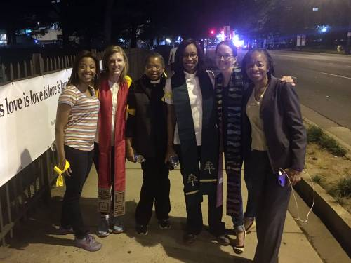 Jessica Patchett (second from left), associate pastor of Christian education at Covernant Presbyterian Church, gathered with other clergywomen Friday evening, September 23, 2106, to support protesters on the streets of Charlotte. (Photo provided)