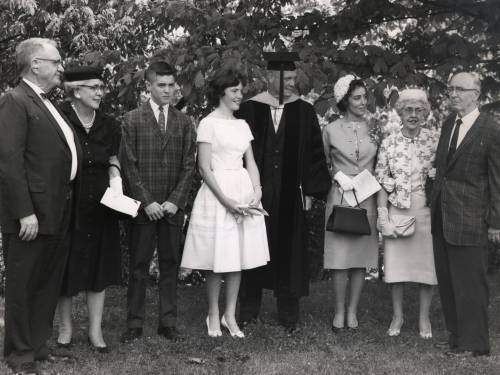John Glenn receives an honorary doctorate degree in science from Muskingum College in June 1961. (L to R) John H. Sr. and Clara Glenn; David, Annie, John and Lyn Glenn; and Homer and Margaret Castor.